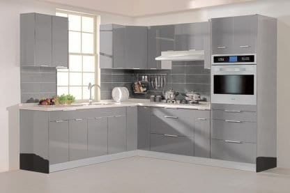 European delight glossy grey kitchen
