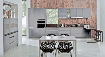 European kitchen luxury lacquer grey
